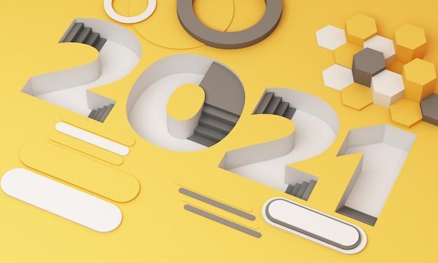 트렌디 한 노란색과 회색 줄무늬의 2021 사다리꼴 글꼴은 기하학적 개체로 둘러싸여 있습니다. 3d 렌더링 프리미엄 사진