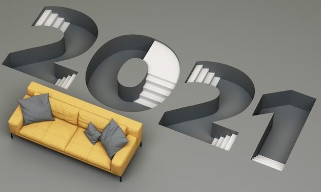 トレンディな黄色と灰色のストライプの2021ラダーダウンフォントは、黄色のソファ3dレンダリングで囲まれています Premium写真