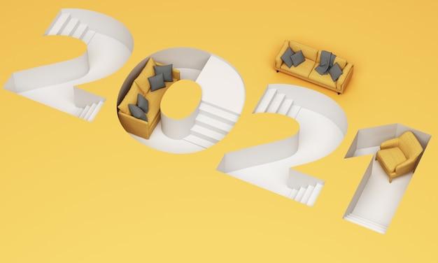 트렌디 한 노란색과 회색 줄무늬의 2021 사다리꼴 글꼴은 노란색 소파와 안락 의자 3d 렌더링으로 둘러싸여 있습니다. 프리미엄 사진