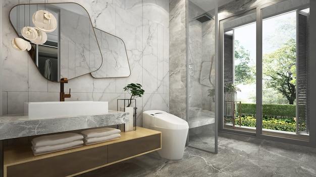 Красивый макет современного дома, макет и дизайн интерьера ванной комнаты с мраморной стеной и видом на сад Premium Фотографии