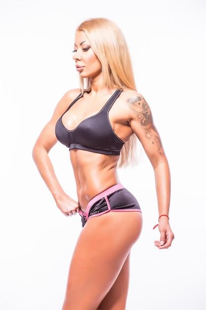 몸은 흰색에 매력적인 여자 스포츠 무료 사진