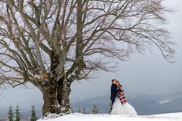 Жених и невеста обнимаются под ковриком, чтобы согреться. зимняя свадьба Premium Фотографии