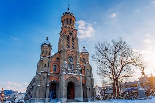 겨울 전주 한옥 마을 교회, 한국 무료 사진