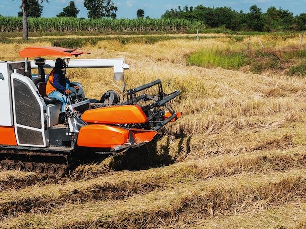 コンバインは畑で農作業をしています。 Premium写真