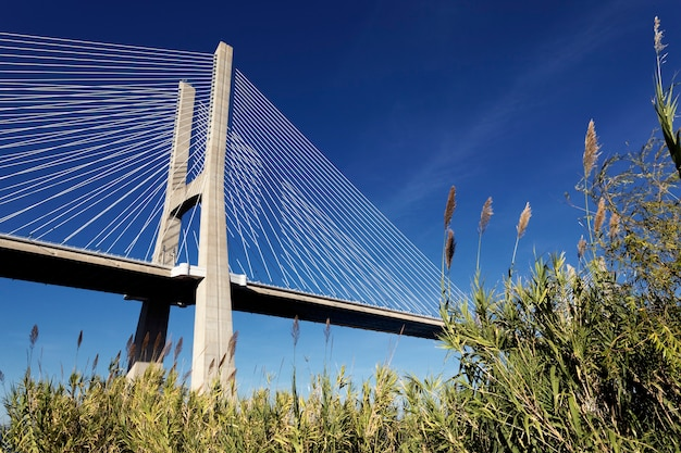 Знаменитый мост васко да гама в лиссабоне, португалия Бесплатные Фотографии