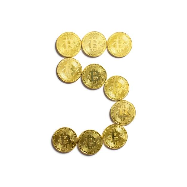 5の図はビットコインコインのレイアウトし、白い背景で隔離 無料写真