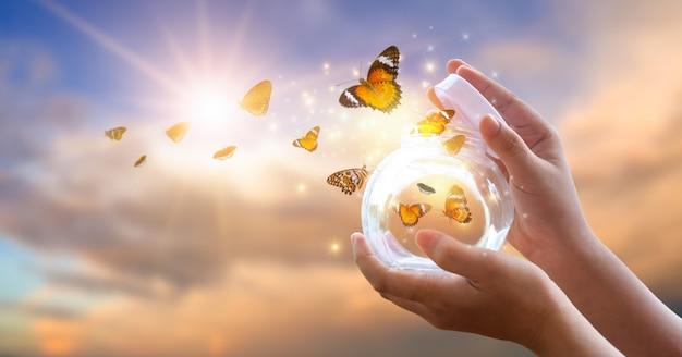 Девушка освобождает бабочку от баночки, золотисто-голубой момент концепция свободы Premium Фотографии