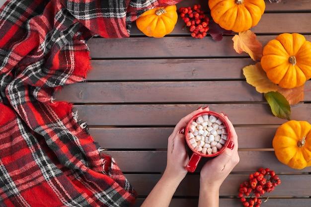 ココアとマシュマロと赤いマグカップを持っている美しい女性の手秋の気分温かい飲み物居心地の良い雰囲気 Premium写真