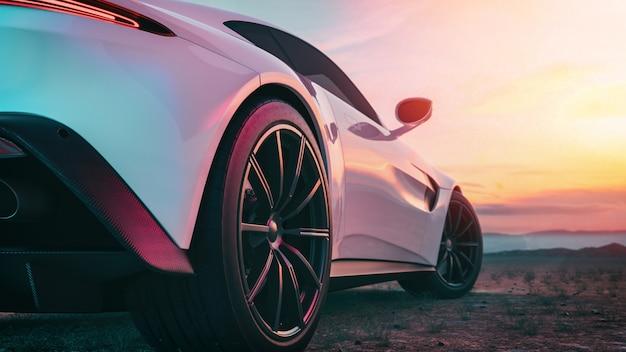 Изображение позади сцены спортивного автомобиля. Premium Фотографии