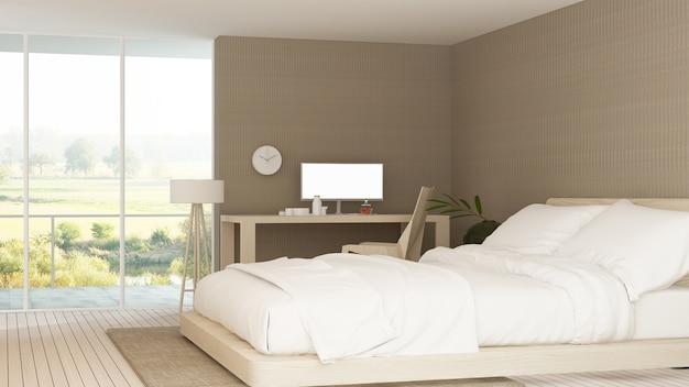 인테리어 최소한의 호텔 침실 프리미엄 사진