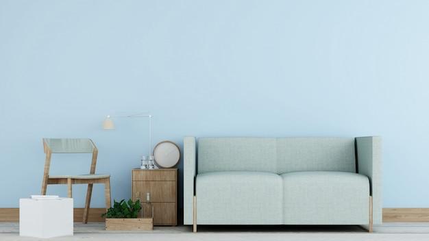인테리어 최소한의 휴식 콘도 및 배경 장식 방 콘크리트 벽 3d 렌더링 프리미엄 사진