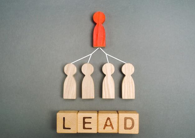 リーダーは従業員に関連付けられており、「リード」という単語が関連付けられています。ビジネスの階層システム Premium写真