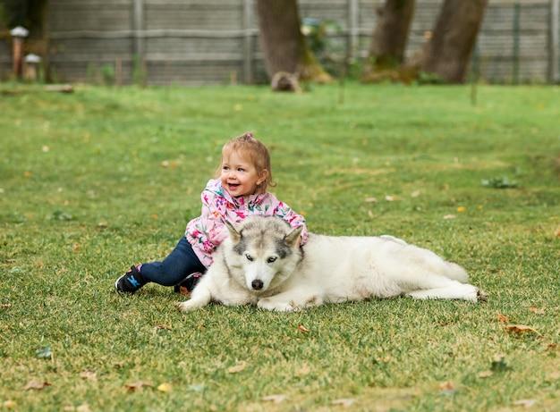 公園の緑の芝生に対して犬と遊ぶ小さな女の赤ちゃん 無料写真