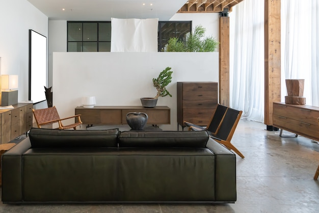 Современная, светлая и уютная атмосфера комнатной квартиры. генеральная уборка Premium Фотографии