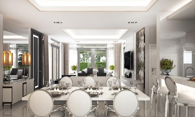 식당과 거실과 흰 벽의 현대적인 고급 인테리어 디자인 프리미엄 사진