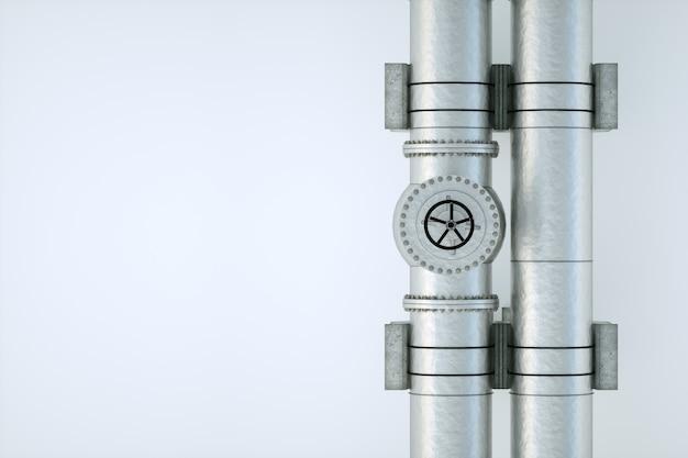 Трубопровод на светлой стене, транспортировка нефти и газа по трубам. технологии, политика, сырье, экономика. копировать пространство 3d визуализация, 3d иллюстрации. Premium Фотографии