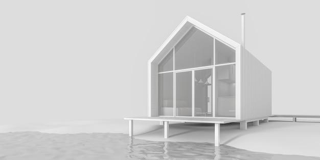 현대적인 작은 오두막집 프로젝트 프리미엄 사진