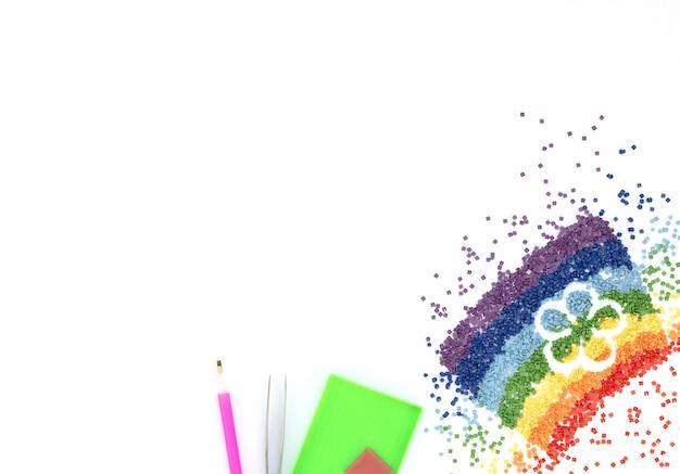 花の形をしたカラフルなクリスタルの虹 Premium写真