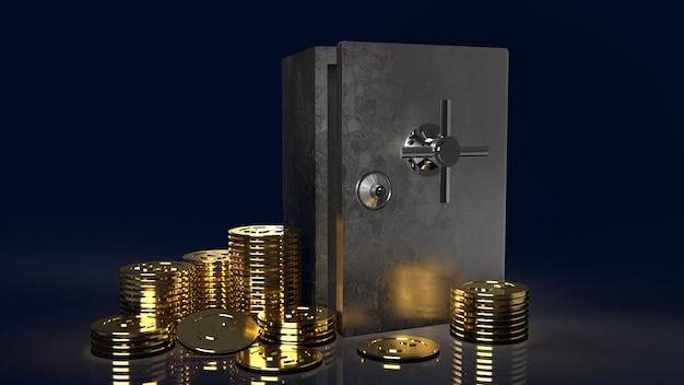 Сейф и золотые монеты на темном фоне для 3d-рендеринга содержимого безопасности Premium Фотографии