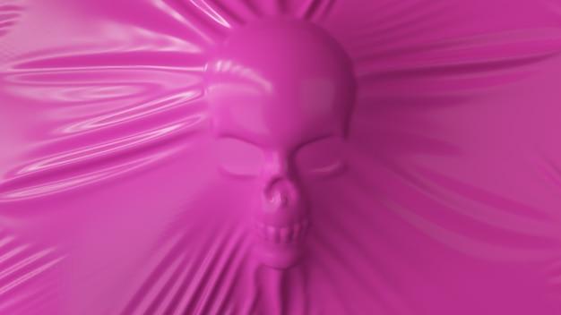 人間の頭蓋骨のシルエットはピンクのラテックスを伸ばします Premium写真