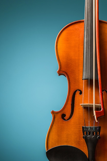 파란색에 바이올린 전면보기 무료 사진