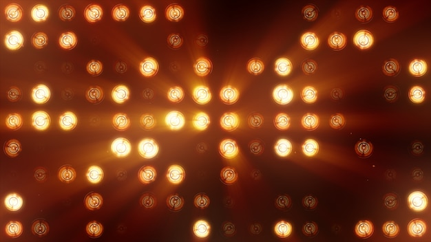 白熱灯の壁は明るいオレンジ色です。 ledの背景 Premium写真