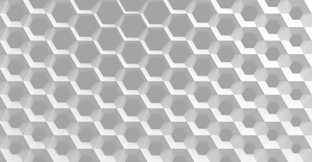 直径の異なる六角形のハニカムの形をした白いセルのグリッド。大きなものから小さなものへ、そしてその逆になります。 Premium写真