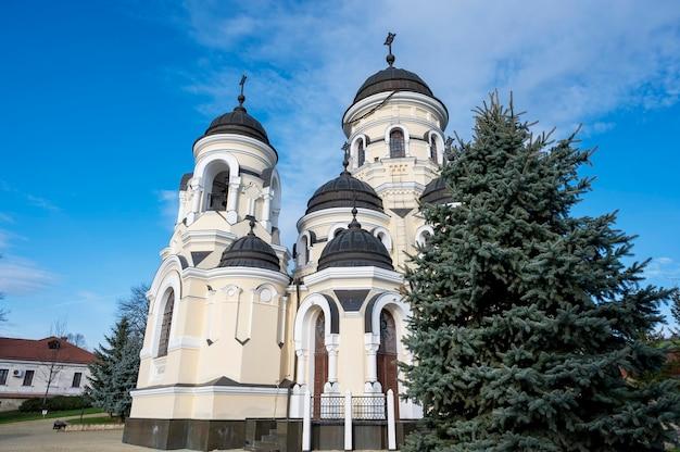 冬の教会とカプリアーナ修道院の中庭。モルドバのもみ、裸の木、天気の良い日 無料写真
