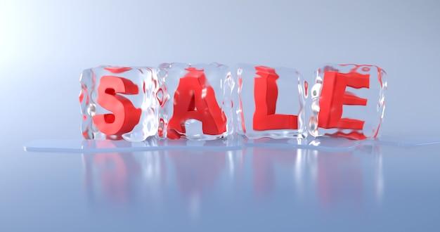 Слово «продажа» находится в кубике льда на голубом фоне. Premium Фотографии