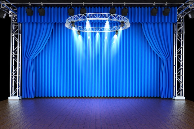 Theater Stage With Blue Curtains And Spotlights Photo