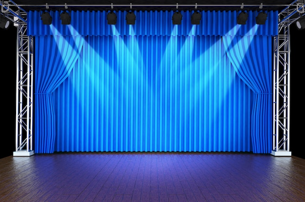 Theater stage with curtains and spotlights Premium Photo