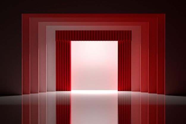 Theatre stage with red curtains and blank white space in the center with shiny reflective floor. Premium Photo