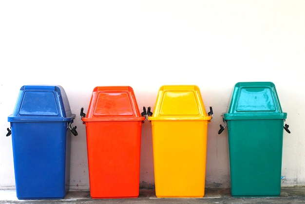 There are colourful of bin. Premium Photo
