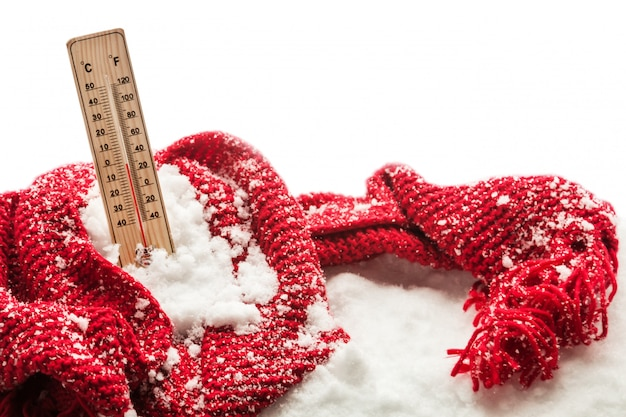 Thermometer with sub zero temperature sticks out in a snowdrift