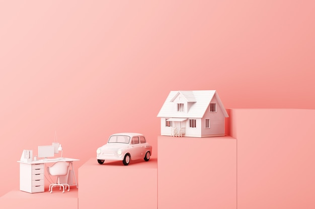 Thinking about home car and work with another empty space on the pink pedestal the concept of life 3d rendering Premium Photo