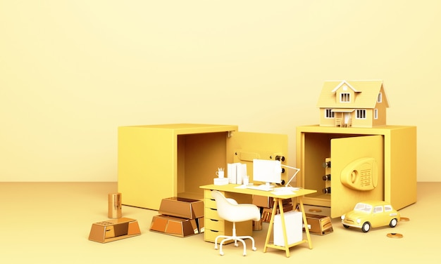 Thinking about home, car and work with an open safe box and gold bar in yellow pastel colour Premium Photo