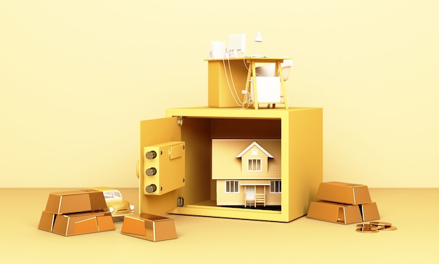 Thinking about home, car and work with an open safe box and gold bar in yellow pastel Premium Photo