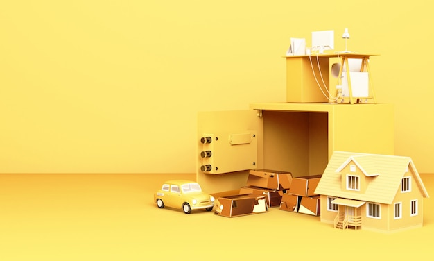 Thinking about home, car and work with an open safe box and gold bar in yellow Premium Photo