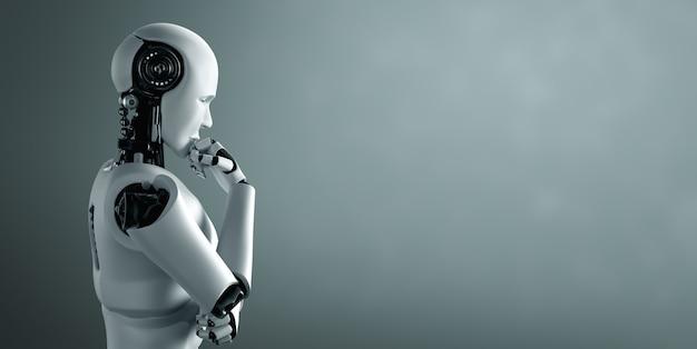 Thinking ai humanoid robot analyzing information data Premium Photo