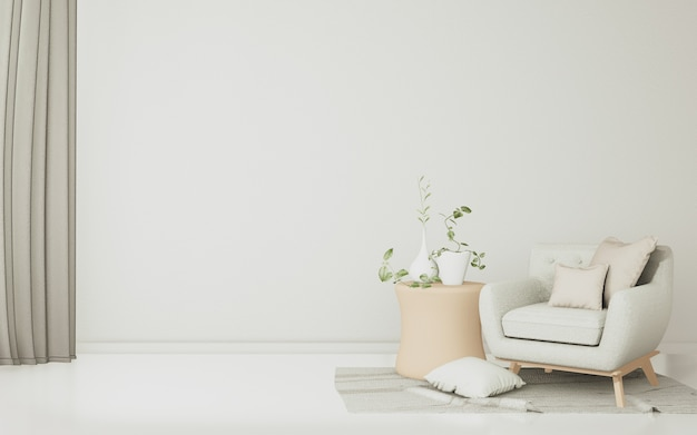 In this large white room, there are sofas, spacious white chairs and tropical decorations. Premium Photo