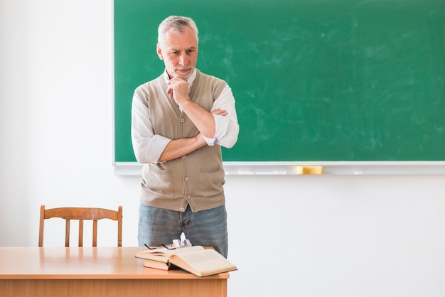 Thoughtful senior professor standing against green chalkboard Free Photo