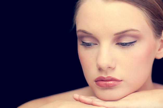 Thoughtful sensual blonde posing Premium Photo