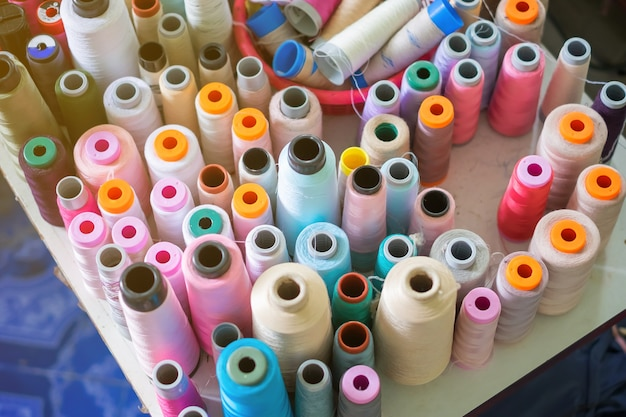 Thread in factory sew. Premium Photo