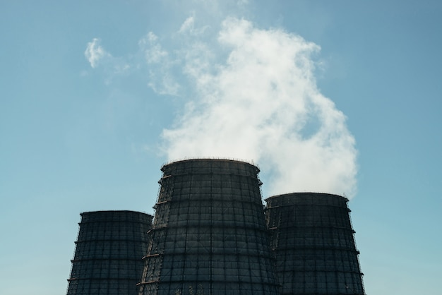 Three big tower of chpp close-up. Premium Photo