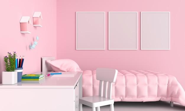 Three blank photo frame in child bedroom Premium Photo