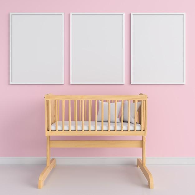 Three blank photo frame for mockup, 3d rendering Premium Photo