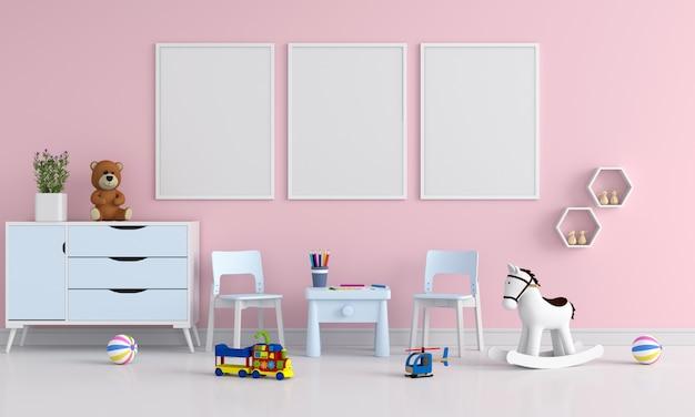Three blank photo frame for mockup in child room Premium Photo