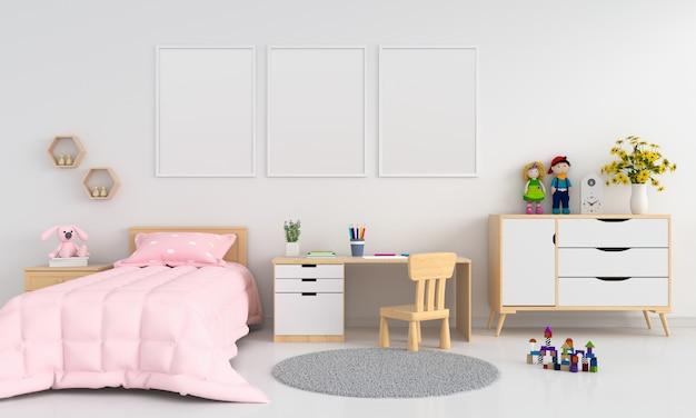 Three blank photo frame for mockup in childern bedroom interior Premium Photo