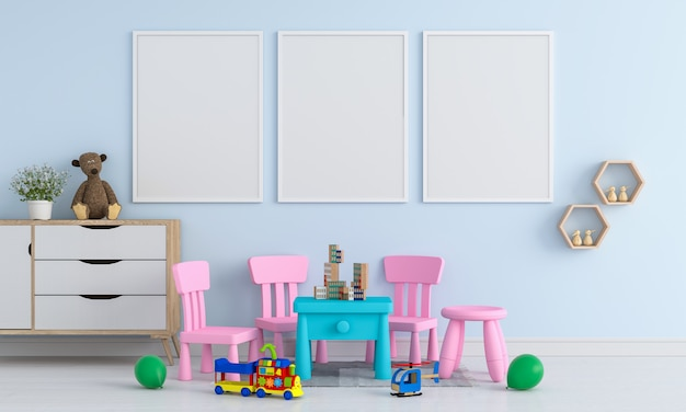 Three blank photo frame for mockup in childern room Premium Photo