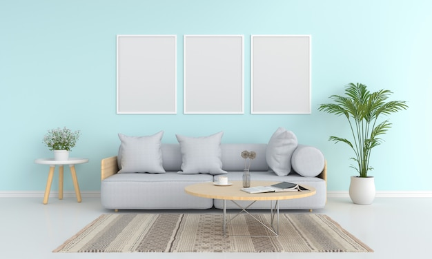 Three blank photo frame for mockup in living room Premium Photo